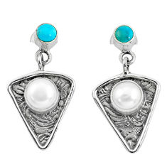 4.70cts natural white pearl turquoise 925 sterling silver dangle earrings p57592