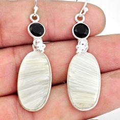 17.96cts natural white scolecite high vibration crystal silver earrings p78671
