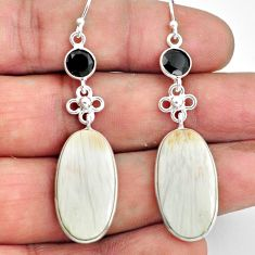 18.39cts natural white scolecite high vibration crystal silver earrings p78672