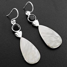 14.56cts natural white scolecite high vibration crystal silver earrings p88822