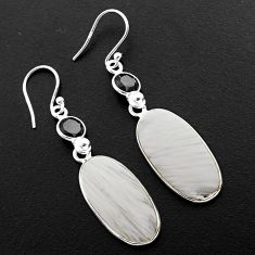 14.59cts natural white scolecite high vibration crystal silver earrings p88827