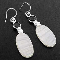 16.47cts natural white scolecite high vibration crystal silver earrings p88828