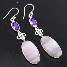 18.15cts natural white scolecite high vibration crystal silver earrings p88836