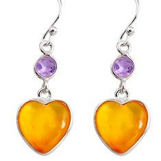 6.83cts natural yellow amber bone amethyst 925 silver heart earrings p91449