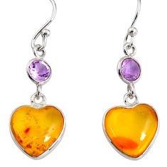 6.83cts natural yellow amber bone amethyst 925 silver heart earrings p91450