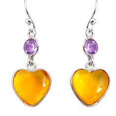 6.92cts natural yellow amber bone amethyst 925 silver heart earrings p91451