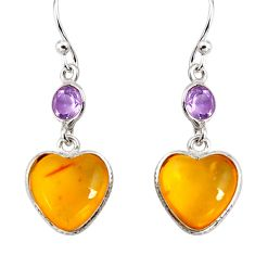 6.98cts natural yellow amber bone amethyst 925 silver heart earrings p91453