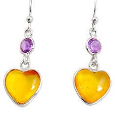 6.89cts natural yellow amber bone amethyst 925 silver heart earrings p91456