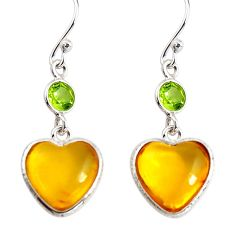 6.89cts natural yellow amber bone heart peridot 925 silver heart earrings p91441