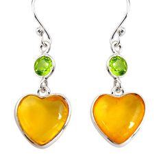 6.89cts natural yellow amber bone pearl 925 silver dangle heart earrings p91443