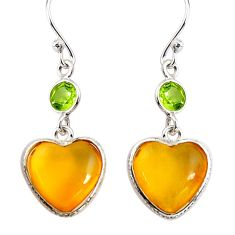 6.89cts natural yellow amber bone peridot 925 silver heart earrings p91452
