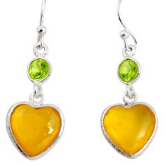 6.77cts natural yellow amber bone peridot 925 silver heart earrings p91455