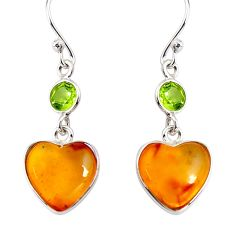 6.89cts natural yellow amber bone peridot 925 silver heart earrings p91458