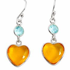 7.53cts natural yellow amber bone topaz 925 silver dangle heart earrings p91442