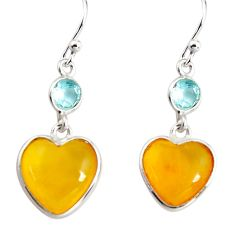 6.92cts natural yellow amber bone topaz 925 silver dangle heart earrings p91444