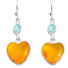 7.14cts natural yellow amber bone topaz 925 silver dangle heart earrings p91448