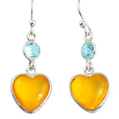 6.83cts natural yellow amber bone topaz 925 silver dangle heart earrings p91454