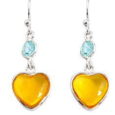 6.89cts natural yellow amber bone topaz 925 silver dangle heart earrings p91457