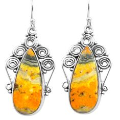 19.22cts natural yellow bumble bee australian jasper 925 silver earrings p72616