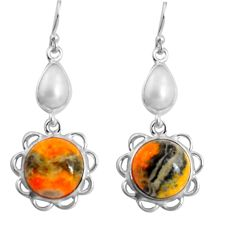15.93cts natural yellow bumble bee australian jasper 925 silver earrings p89287