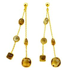 16.27cts natural yellow citrine 925 silver 14k gold chandelier earrings p87426