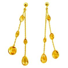 15.74cts natural yellow citrine 925 silver 14k gold chandelier earrings p87434