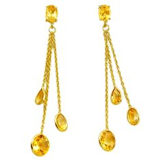 11.70cts natural yellow citrine 925 silver 14k gold chandelier earrings p87475