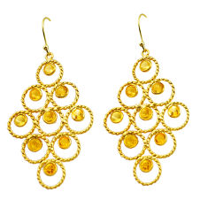 10.77cts natural yellow citrine 925 silver 14k gold dangle earrings p75452