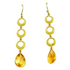 10.63cts natural yellow citrine 925 silver 14k gold dangle earrings p87318