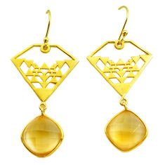 12.69cts natural yellow citrine 925 silver 14k gold dangle earrings p87419