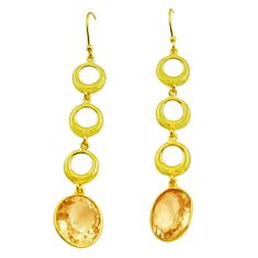 9.72cts natural yellow citrine 925 silver 14k gold dangle earrings p87492