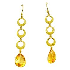 11.11cts natural yellow citrine 925 silver 14k gold dangle earrings p87498
