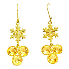 13.61cts natural yellow citrine 925 silver 14k gold snowflake earrings p87370