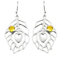 1.94cts natural yellow citrine 925 silver feather earrings jewelry p62731