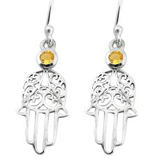 1.01cts natural yellow citrine 925 silver hand of god hamsa earrings p36822