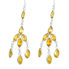 10.89cts natural yellow citrine 925 sterling silver chandelier earrings p43926