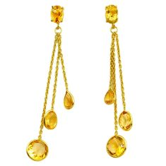 14.59cts natural yellow citrine 925 sterling silver chandelier earrings p87453