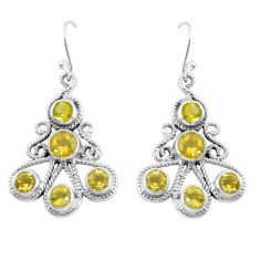 Clearance Sale- 8.03cts natural yellow citrine 925 sterling silver dangle earrings d31589
