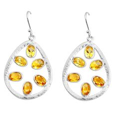 8.87cts natural yellow citrine 925 sterling silver dangle earrings p43785
