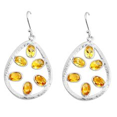 9.37cts natural yellow citrine 925 sterling silver dangle earrings p43788