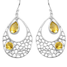 7.24cts natural yellow citrine 925 sterling silver dangle earrings p82132