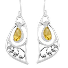 5.17cts natural yellow citrine 925 sterling silver dangle earrings p82245