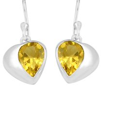 5.00cts natural yellow citrine 925 sterling silver dangle earrings p82306
