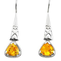6.09cts natural yellow citrine 925 sterling silver dangle earrings p84046