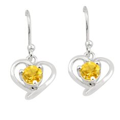 2.02cts natural yellow citrine 925 sterling silver dangle heart earrings p62439