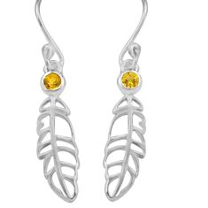 0.58cts natural yellow citrine 925 sterling silver deltoid leaf earrings p82165