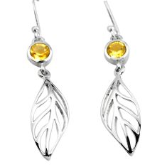 1.87cts natural yellow citrine 925 sterling silver deltoid leaf earrings p84146