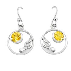 2.02cts natural yellow citrine 925 sterling silver earrings jewelry p62566