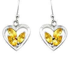 5.87cts natural yellow citrine 925 sterling silver heart love earrings p82367