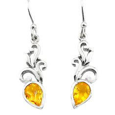 3.17cts natural yellow citrine 925 sterling silver heart love earrings p82377